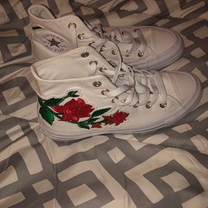 Women's limited edition rose embroidered converse